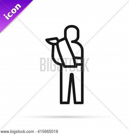 Black Line Human Broken Arm Icon Isolated On White Background. Injured Man In Bandage. Vector