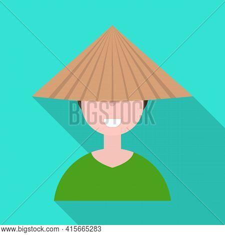 Vector Design Of Vietnamese And Portrait Logo. Collection Of Vietnamese And Costume Vector Icon For