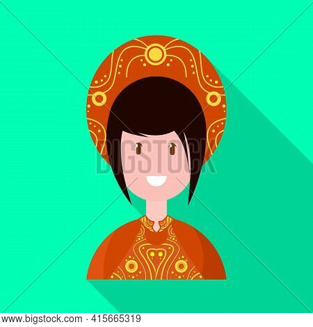 Vector Illustration Of Vietnamese And Woman Logo. Set Of Vietnamese And Girl Stock Vector Illustrati