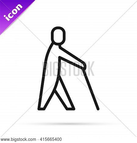 Black Line Blind Human Holding Stick Icon Isolated On White Background. Disabled Human With Blindnes