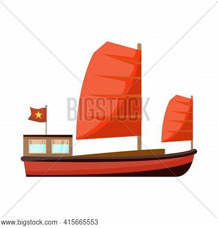 Vector Design Of Ship And Vietnamese Icon. Set Of Ship And Boat Stock Vector Illustration.