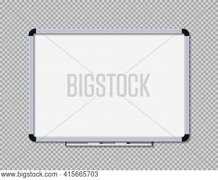White Board For Office And School. Whiteboard With Marker For Presentation. Blank Board With Border