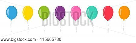 Balloon In Cartoon Style. Bunch Of Balloons For Birthday And Party. Flying Ballon With Rope. Blue, R