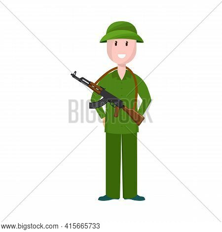 Isolated Object Of Vietnamese And Soldier Symbol. Collection Of Vietnamese And Man Stock Vector Illu