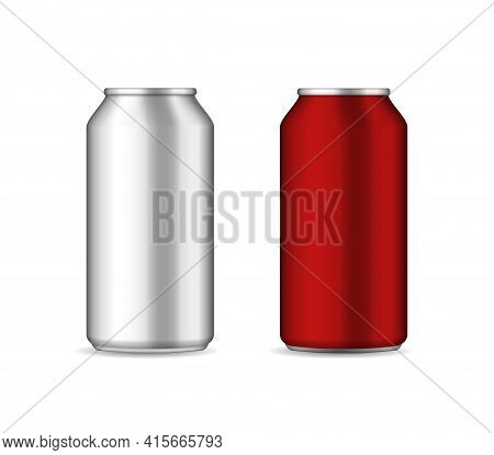 Can Of Beer. Aluminium Bottle For Drink. Mockup Of Can Bottle For Soda Or Cola. Silver And Red Alumi