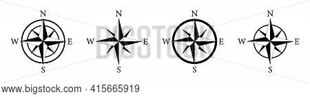 Compass Icon. Nautical Compass For Travel With Sign Of North, South, West, East. Set Of Logo For Map