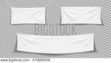 Fabric Banner. White Textile Banner. Hanging, Stretch Cloth Flag. Fabric Canvas With Rope. Blank Hor
