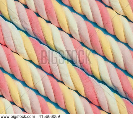 Marshmallow Background. Sweet Candy Colorful Diagonal Texture. Rainbow Colored Marshmallow Twists. C