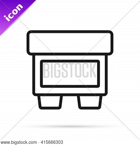 Black Line Fuse Of Electrical Protection Component Icon Isolated On White Background. Melting Breaki
