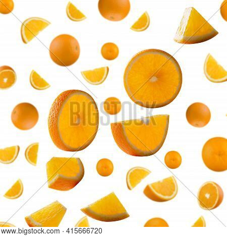 Orange Pieces Of Various Shapes, Glowing From Inside, Flying In Space. Orange Isolated On White. Sup