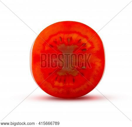 A Slice Of Fresh Tomato Glows From Inside. Delicious Vegetable Concept.