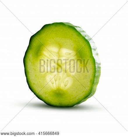 Cucumber Slice With Magic Glow From Inside Isolated On White Background. Fresh Cut Cucumber Closeup
