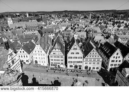 Rothenburg, Germany - April 19, 2015: View To Rothenburg Ob Der Tauber, Germany. Rothenburg Is Well
