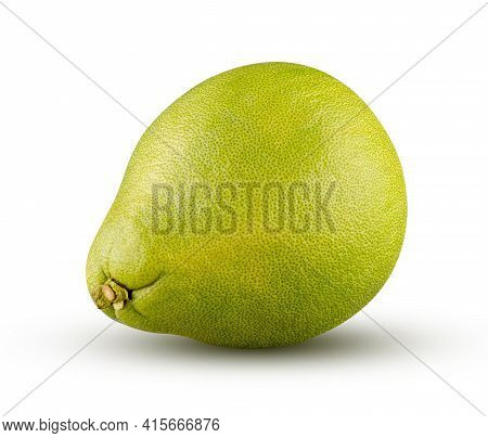 Perfectly Retouched Green Pomelo Isolated On White Background. Full Depth Of Field And High Resoluti