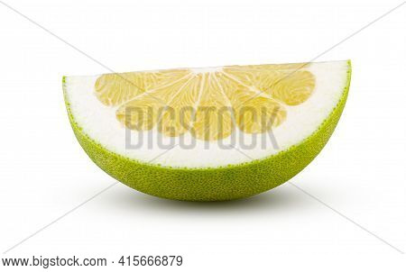 Perfectly Retouched Quarter Of Pomelo Isolated On White Background. Full Depth Of Field And High Res