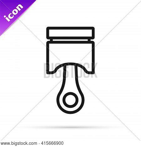 Black Line Engine Piston Icon Isolated On White Background. Car Engine Piston Sign. Vector