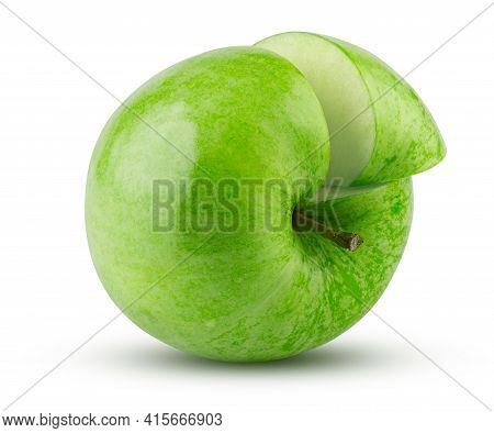 Green Apple Sliced Isolated On White Background. Highly Retouched Closeup. Full Depth Of Field. Juic