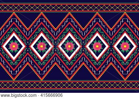 Geometric Design Pattern Fabric Ethnic Oriental Traditional And Hand Drawn Line For Embroidery Style
