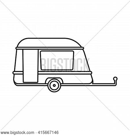 Isolated Object Of Trailer And Vintage Symbol. Web Element Of Trailer And Van Vector Icon For Stock.