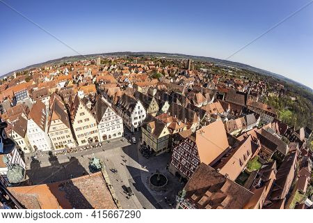 Rothenburg, Germany - April 19, 2015: Skyline Of Rothenburg Ob Der Tauber With View To Central Marke