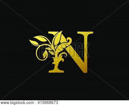 Luxury N Letter Design. Graceful Ornate Icon Vector Design. Vintage Drawn Emblem For Book Design, Br