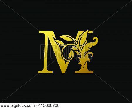 Luxury M Letter Design. Graceful Ornate Icon Vector Design. Vintage Drawn Emblem For Book Design, Br