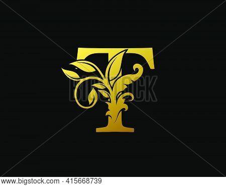 Luxury T Letter Design. Graceful Ornate Icon Vector Design. Vintage Drawn Emblem For Book Design, Br