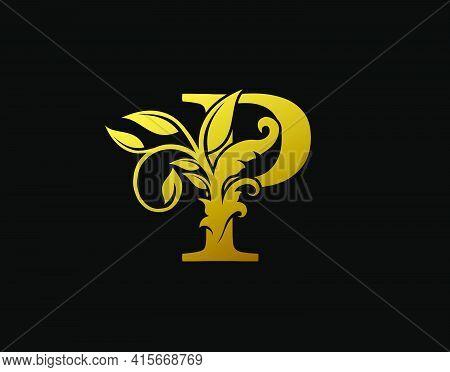 Luxury P Letter Design. Graceful Ornate Icon Vector Design. Vintage Drawn Emblem For Book Design, Br