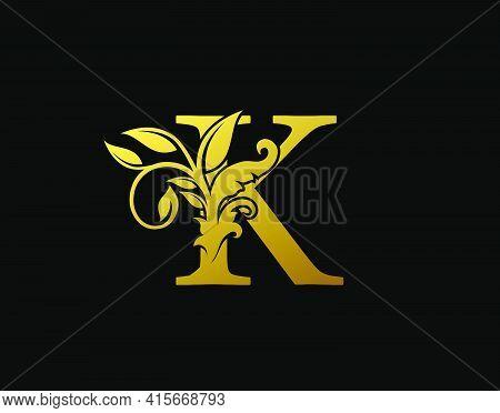 Luxury K Letter Design. Graceful Ornate Icon Vector Design. Vintage Drawn Emblem For Book Design, Br