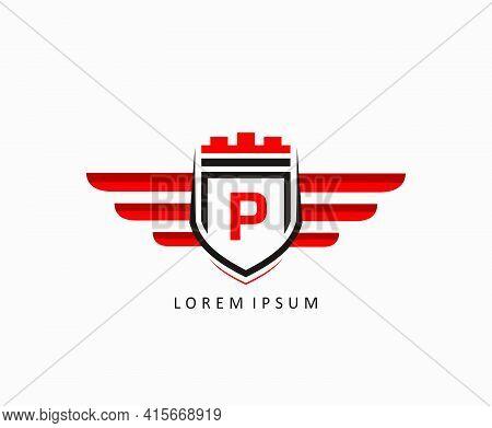 Shield Wing Letter P Icon Design, Automotive Icon Concept.