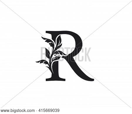 Classic Letter R Heraldic Logo. Vintage Classic Ornate Letter Vector.