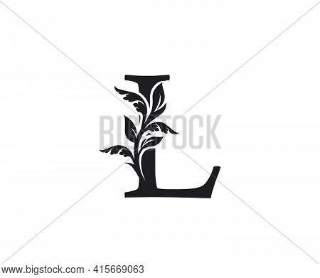 Classic Letter L Heraldic Logo. Vintage Classic Ornate Letter Vector.