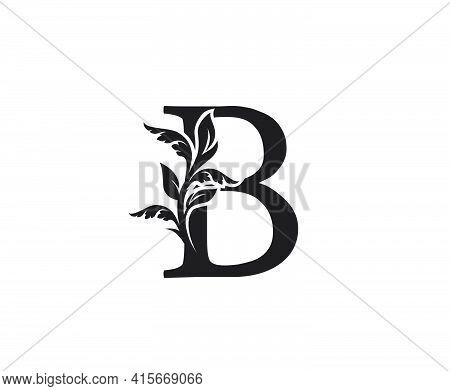 Classic Letter B Heraldic Logo. Vintage Classic Ornate Letter Vector.