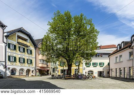Gmunden, Austria - April 22, 2015: Rinnholz Square In  Gmunden, Austria. The Rinnholz Square Is An O