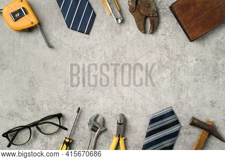 Top View Design Concept Of Father's Day With Working Tools On Blue Background.