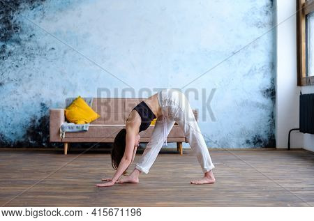 Brunette Female Does Yoga Adho Mukha Svanasana Exercises For Stretching The Back Muscles In The Morn