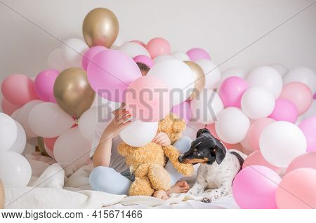 Faceless Child  Behind Helium Balloon Celebrates Birthday  Over White Background With Wmany Balloons