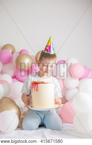 Little Boy With Cake . Small Child With Party Balloons, Celebration. Birthday, Happiness, Childhood,