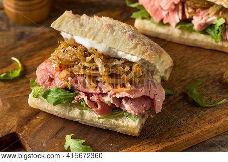 Homemade Prime Rib Sandwich Au Jus