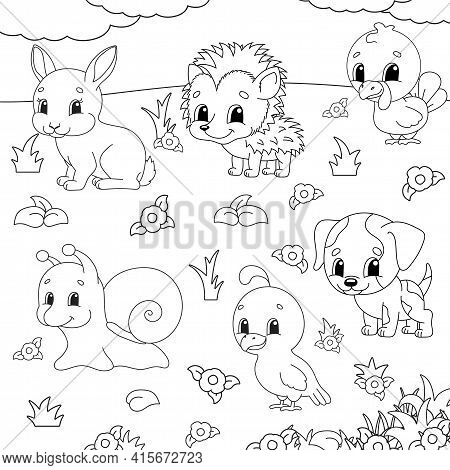 Coloring Book For Kids. Animal Clipart. Cheerful Characters. Vector Illustration. Cute Cartoon Style