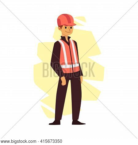 Industrial Or Construction Worker Man Flat Vector Illustration Isolated.