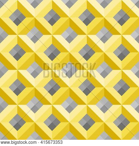 Diamond-shaped Yellow Squares, Gray Gradient Background. Seamless Abstract Pattern. Color Trend Of 2