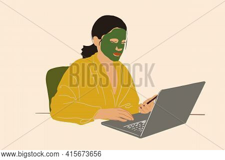 Pretty Woman With Detox Mask On Face Working On Laptop At Home Office. Clean And Beauty Skincare Con