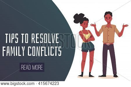 Tips To Resolve Family Conflicts Website Header, Flat Vector Illustration.