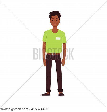 African American Man Restaurant Waiter Or Seller, Vector Illustration Isolated.