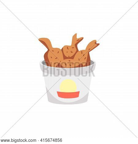 Basket Of Fried Chicken Legs Or Drumsticks, Flat Vector Illustration Isolated.
