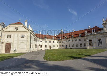 Vienna, Austria - April 25, 2015: Entrance Of Castle Belvedere In Vienna With Open Gate.