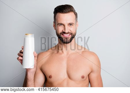 Photo Of Young Handsome Stubble Man Happy Smile Enjoy Hygiene Haircare Shampoo Isolated Over Grey Co
