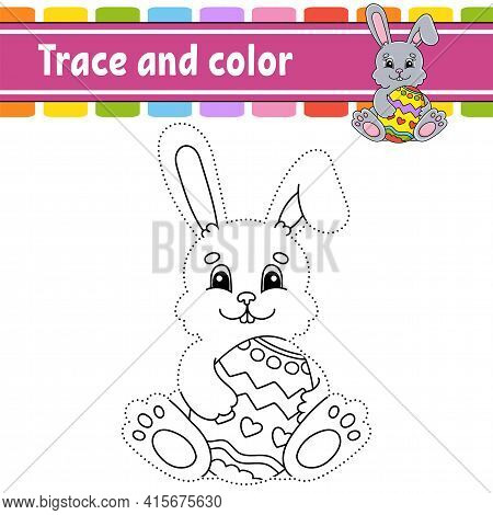 Trace And Color. Coloring Page For Kids. Handwriting Practice. Education Developing Worksheet. Activ
