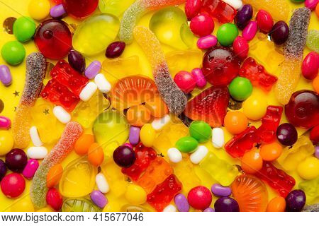 Sweetness Background. Candy Assorted Layout. . Chewy Marmalade And Small Caramels . Bright Backgroun